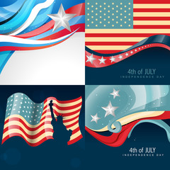 set of creative american flag background