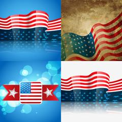 set of american flag design illustration