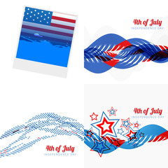 stylish set of 4th july american independence day illustration