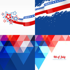 set of american flag design with different pattern style