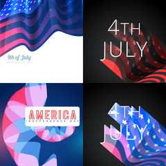stylish set of 4th july american independence day background