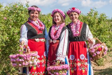 Girls posing during the Rose picking festival in Bulgaria