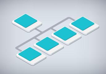 Isometric organization and sturcture. flat 3d organization pop-u