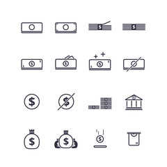 Money linear flat icon set. vector illustration