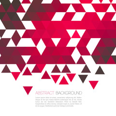 Abstract red geometric background with triangle. Vector