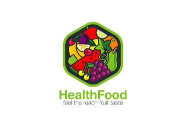 Fruit Logo design vector template hexagon shape...Vegetarian foo