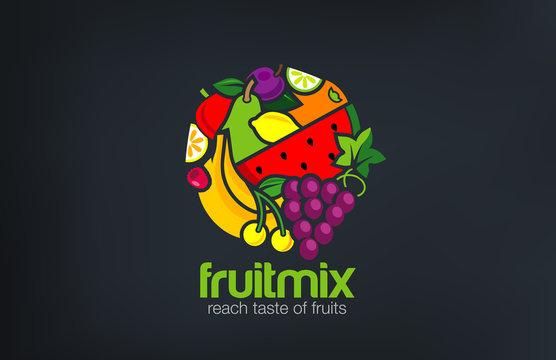 Fruit mix Logo design vector template circle shape...Vegetarian