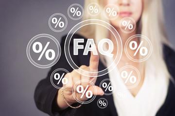 Businesswoman touch button FAQ network percent icon