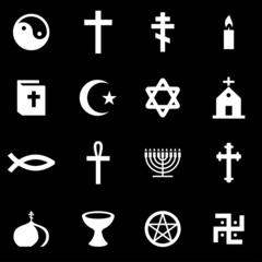 Vector white religion icon set
