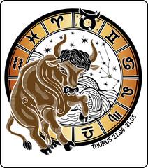 Taurus and the zodiac sign.Horoscope circle. Vector Illustration