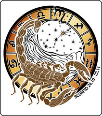 Scorpio zodiac sign.Horoscope circle.Vector Illustration
