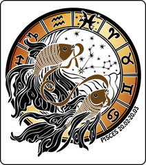 Pisces and the zodiac sign.Horoscope circle. Vector Illustration