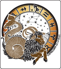 Capricorn and the zodiac sign on a white background.Horoscope ci
