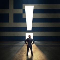 Geschäftsmann steht vor leuchtendem Ausrufezeichen-Portal in einer Griechenland-Wand