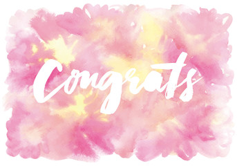 Congratulations. Abstract background. Watercolor.