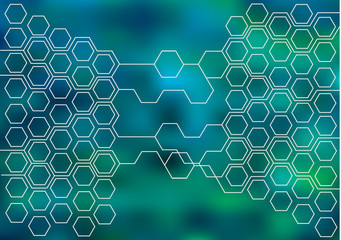 bright vector background with hexagons and lines