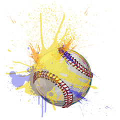 Baseball Created by professional Artist.all elements are kept in separate layers, and grouped.