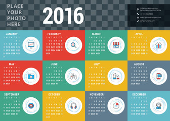 Vector Design Template. Calendar 2016. Week Starts Sunday