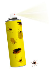Tick insect, flea insecticide. Spray isolated on white.
