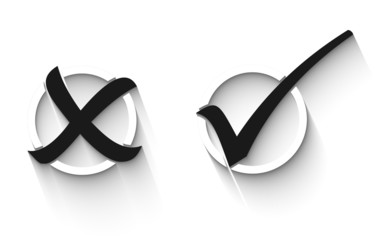 Tick and cross in black and white