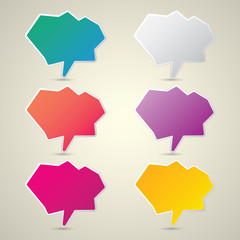 color vector paper speech bubble set.