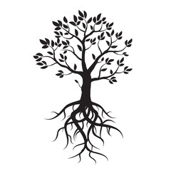 Black vector tree, leafs and roots