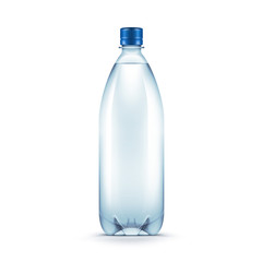 Vector Blank Plastic Blue Water Bottle