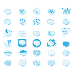 Brain Icons Set - Isolated On White Background - Vector Illustration, Graphic Design, Editable For Your Design