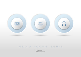 Rounded buttons with business icons and symbols.