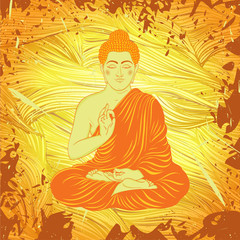 Vintage poster with sitting Buddha on the grunge background. Retro hand drawn vector illustration