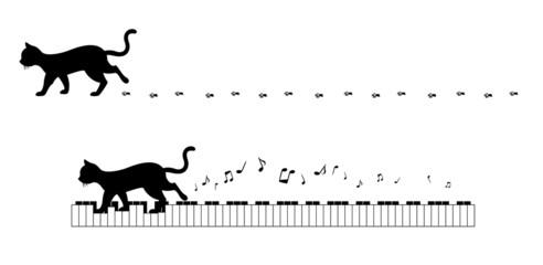 猫のシルエットライン
