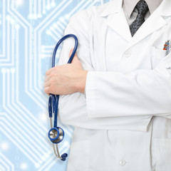 Doctor with stethoscope and blue circuit on background - close up