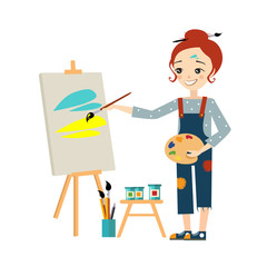 Beautiful Artist Woman Painting on Canvas