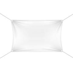White Blank Empty Horizontal Rectangular Banner