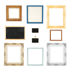 Variety style of picture frames set isolated on white background