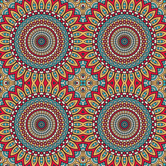 Poster Boho Stijl Ethnic floral seamless pattern