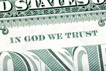 Dollar macro, stacked close-up detail photo. In God we trust sen