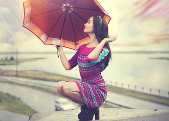 Pleasure happy life under an umbrella