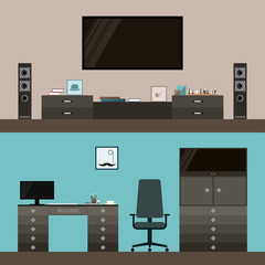 room interior isolated on blue and beige cover. flat style
