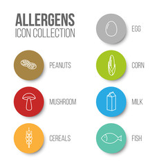 Vector icons set for allergens