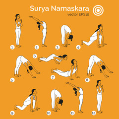 Vector yoga illustration. Surya Namaskara. Yoga set. Yoga exercises. Women yoga. Yoga class, yoga center, yoga studio. Yoga poster. Sketch with yoga asana. Girl does yoga exercises. Healthy lifestyle.