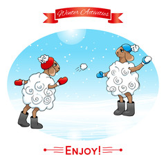 Winter activities. Lambs play in snowballs. Winter poster. Poster, card with sheeps on a winter snow background. Merry Christmas and Happy New Year.