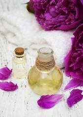 essential oil in glass bottles
