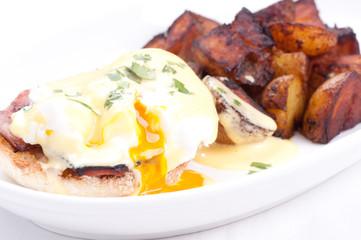 eggs benedict with farm fresh eggs and ham
