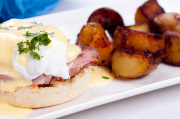 eggs benedict with farm fresh eggs and ham