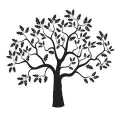 Black vector Oak Tree