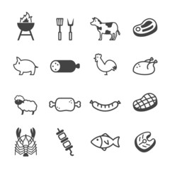 meat and grill icons