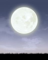 Full moon with night sky silhouette background