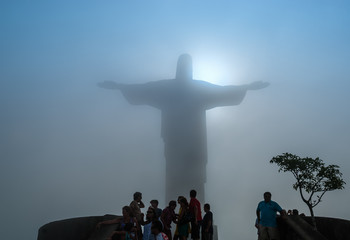 Art Deco statue Christ the Redeemer Corcovado Rio de Janeiro on a cloudy foggy day