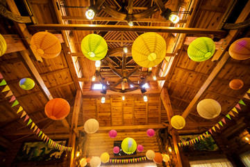 Colourful paper lanterns